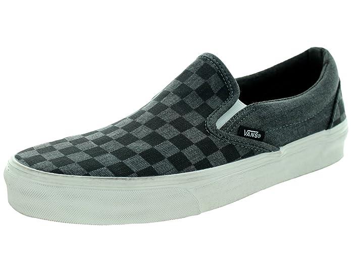 Vans Classic Slip-On Sneaker Unisex Erwachsene Schwarz Kariert overwashed