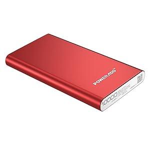 Poweradd Pilot 2GS 10,000mAh Caricabatterie portatile Ad alta qualità con 2 uscite di 3.4A per iPhone, iPad, iPod, Samsung e tanti altri Phone ------ rosso (con un cavo Micro USB)