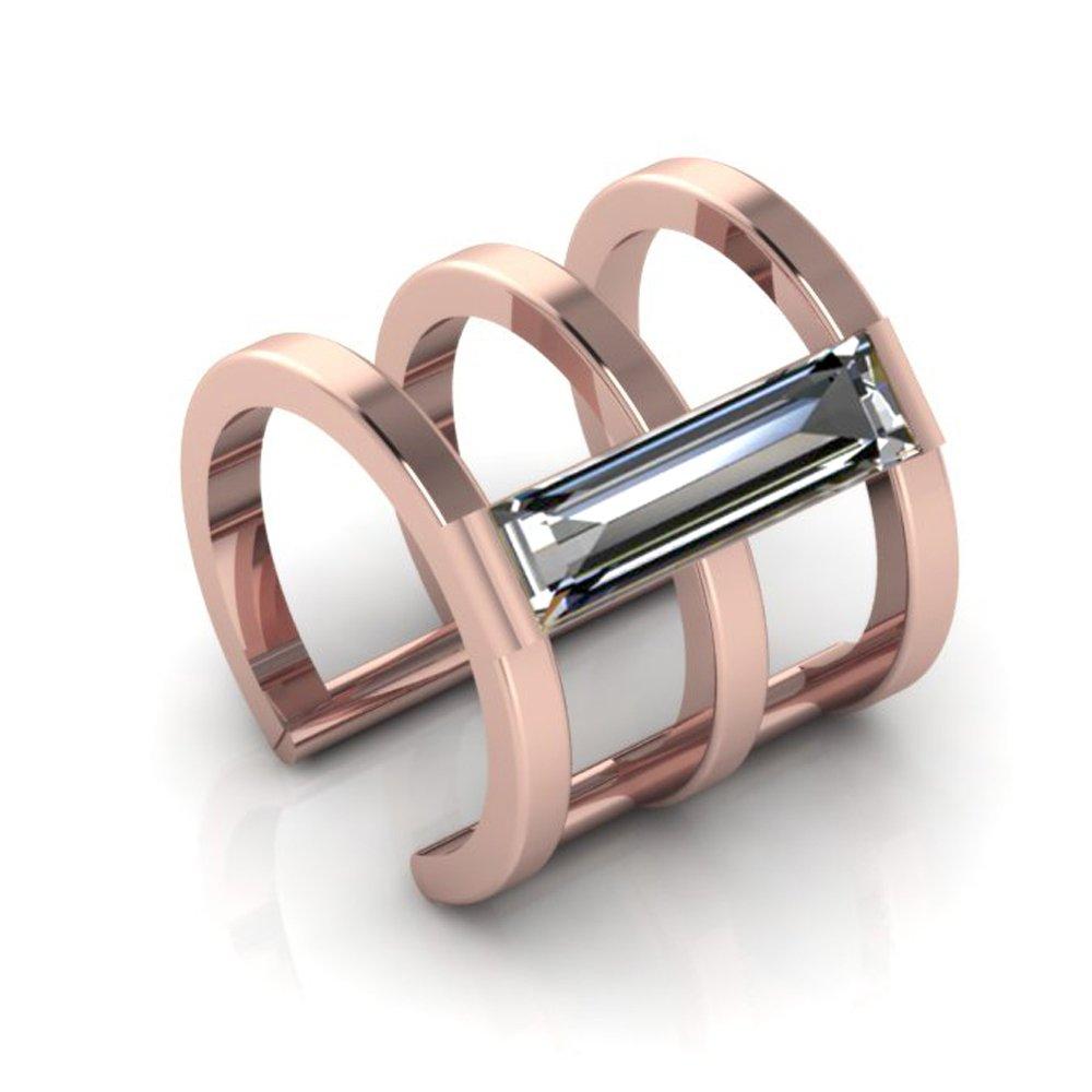 14K Rose Gold Ear Cuff Crystal Baguette Stone CZ Earring No Piercing by ANTOANETTA