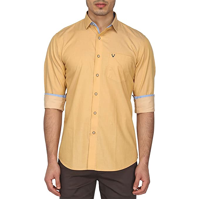 c5f86058cb Allen Solly Men s Casual Shirt (8907587972237 AMSF517G02046 48 Medium Yellow  with White)