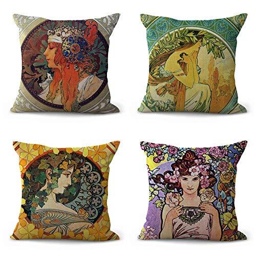 WholesaleSarong 4pcs Cushion Covers Art Nouveau Alphonse Mucha Home Decor Accents