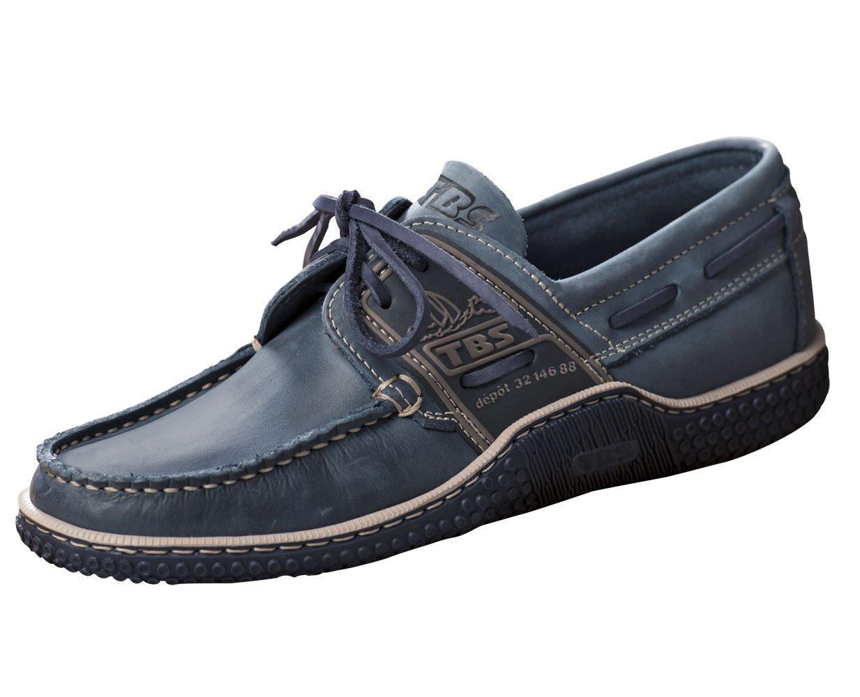TBS Herren Deckschuh Globek Leder Bootsschuh  H: 43|Blau