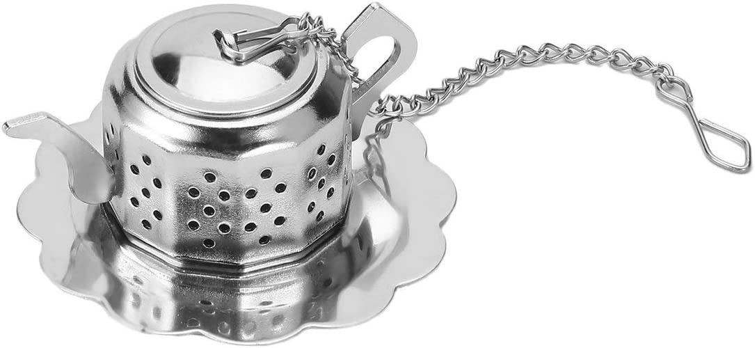 silver Panda Practical Cute Durable 304 Stainless Steel Teapot Tea Infuser Spice Drink Strainer Herbal Filter+Tray