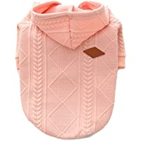 Meiwash Zipper Hooded Dog Sweater Pet Clothes Dog Cat Clothes Cute Pet Clothing Warm Hooded Winter Warm Puppy French Bulldog Pug (XXL, Pink)
