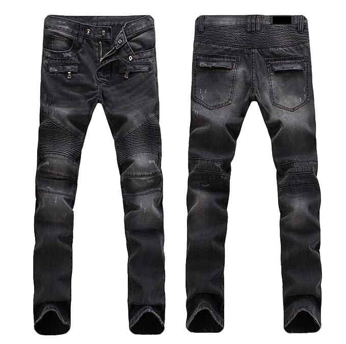 Amazon.com: BYWX - Pantalones vaqueros para hombre, estilo ...