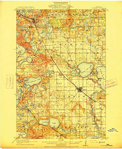 YellowMaps Perham MN topo map, 1:62500 Scale, 15 X 15 Minute, Historical, 1915, 20.17 x 16.51 in - Tyvek