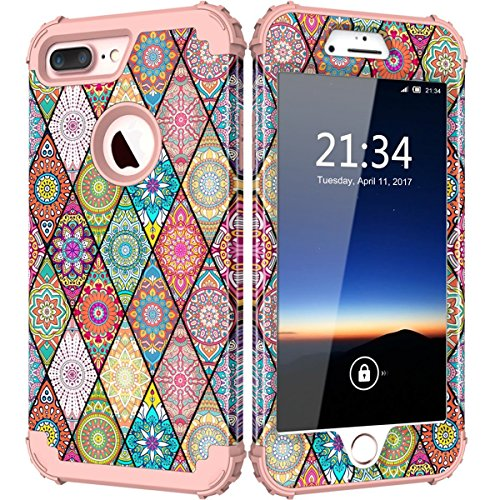 "Price comparison product image iPhone 7 Plus Case, Hocase Drop Protection Shockproof Silicone Rubber Bumper+Hard Shell Hybrid Dual Layer Full-Body Protective Case for Apple iPhone 7 Plus 5.5"" - Mandala Floral Print / Rose Gold"