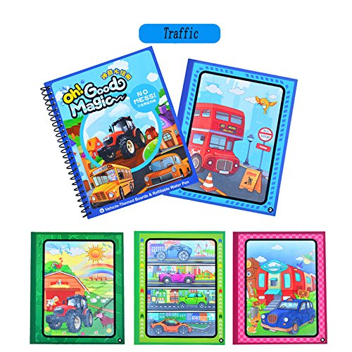 Traffic Kids Water Activity Book paint Coloring Book with water pen Paint With Water Book for toddlers