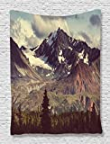 Ambesonne Alaska Mountains Tapestry Decor by, Arctic Landscape Wilderness and Hiking Mountain in USA Picture, Bedroom Living Kids Girls Boys Room Dorm Accessories Wall Hanging Tapestry, Green Blue