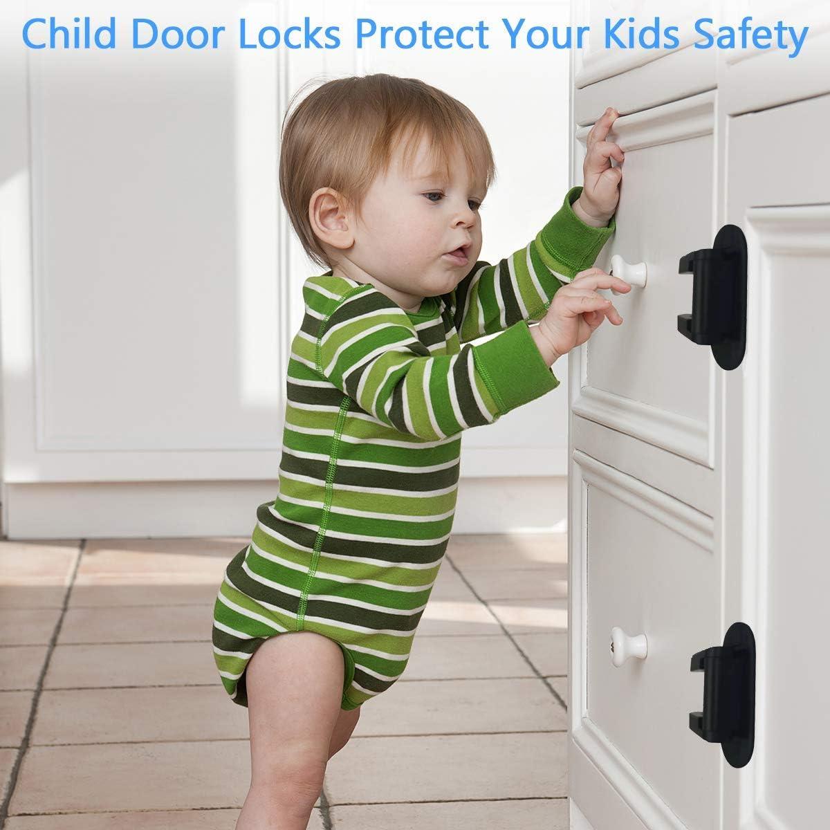 2 Pack Child Proof Doors /& Handles 3M VHB Adhesive Child Safety Jolik Door Lever Lock Black