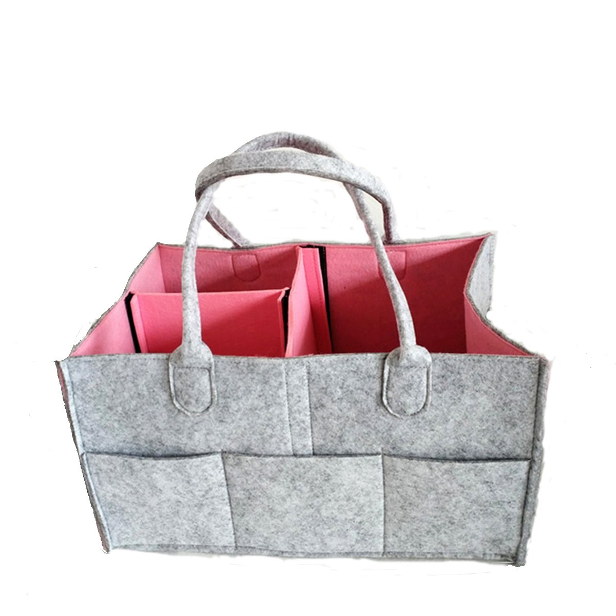Baby Diaper Organizer, Nappy Organizer Portable Caddy Organizer Baby Wipes Bag Nappy Organizer Nappy Storage Bag (Dark Grey+ Pink) Pakly
