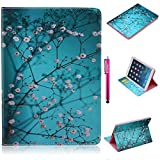 iPad Air Case, Firefish Premium PU Leather Wallet Case with Card Slots and Kickstand Feature Case for Apple iPad Air - Plum Flower