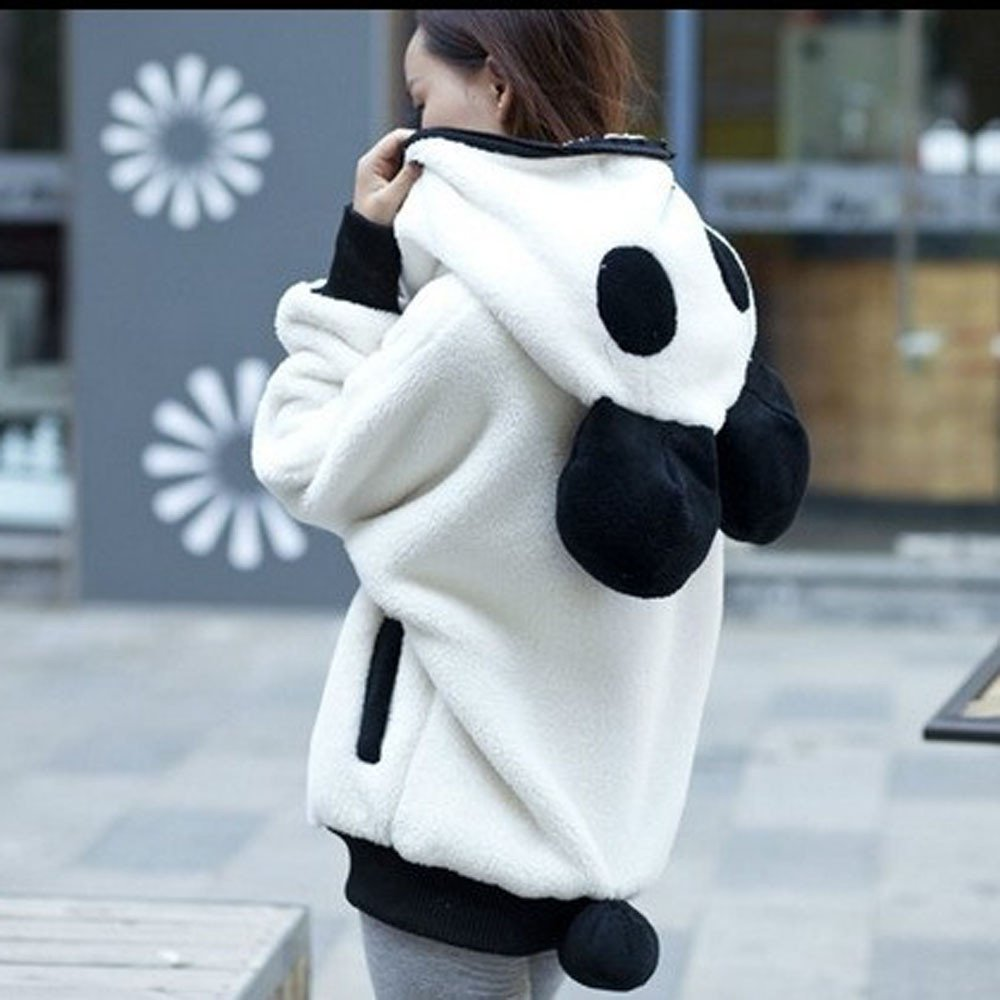 Amazon.com: Besde Womens Cute Bear Ear Panda Hoodie Coat Plush Soft and Comfortable Zipper Jacket Outerwear