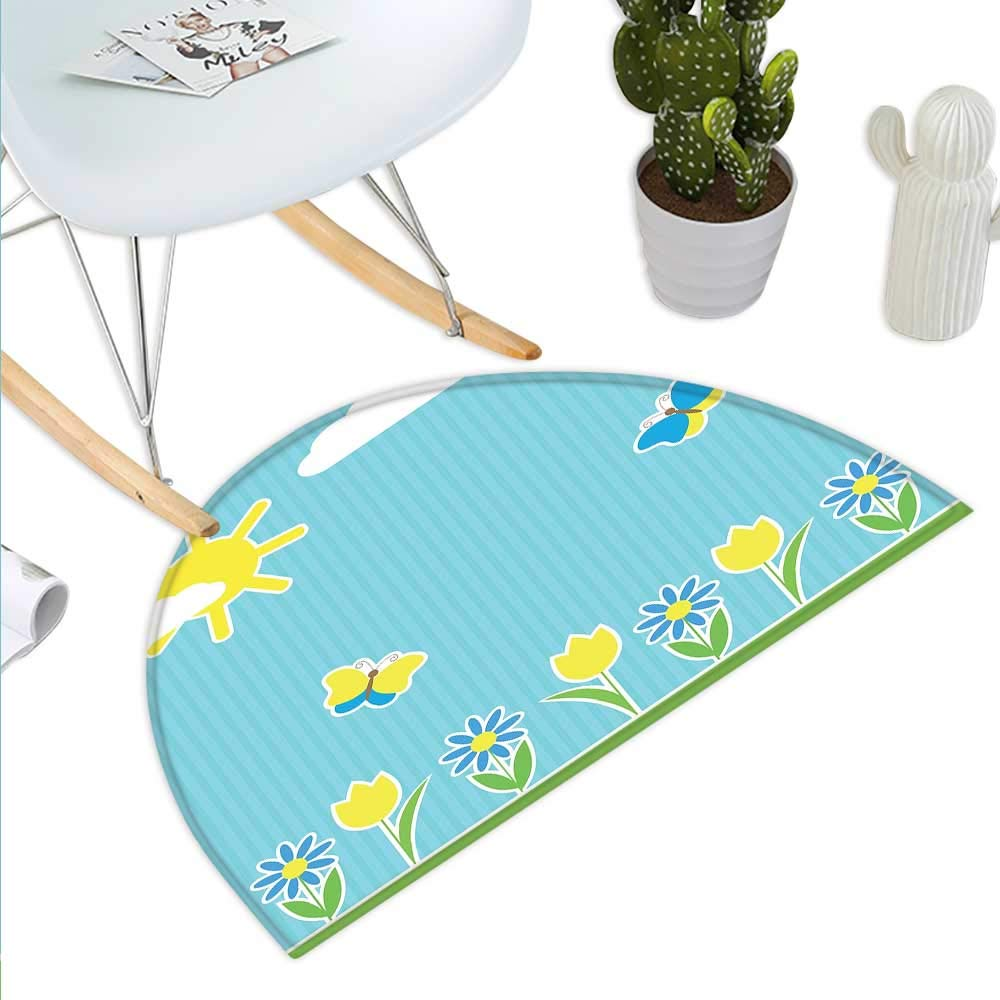 color14 H 31.5  xD 47.2  Yellow and bluee Semicircle Doormat Doodle Style Floral Swirls Curves Ornate Blooms Flourish Halfmoon doormats H 27.5  xD 41.3  Light Yellow Aqua Light bluee