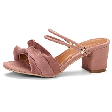 ANNIESHOE Wildleder Pantoletten Absatz Damen Sandalen Sommer Pink 35CN 35EU  22.5cm 1af96a29af
