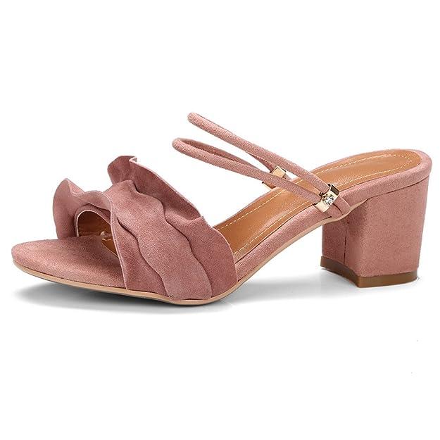 ANNIESHOE Wildleder Pantoletten Absatz Damen Sandalen Sommer Pink 38CN 37EU 24cm 7Magxg