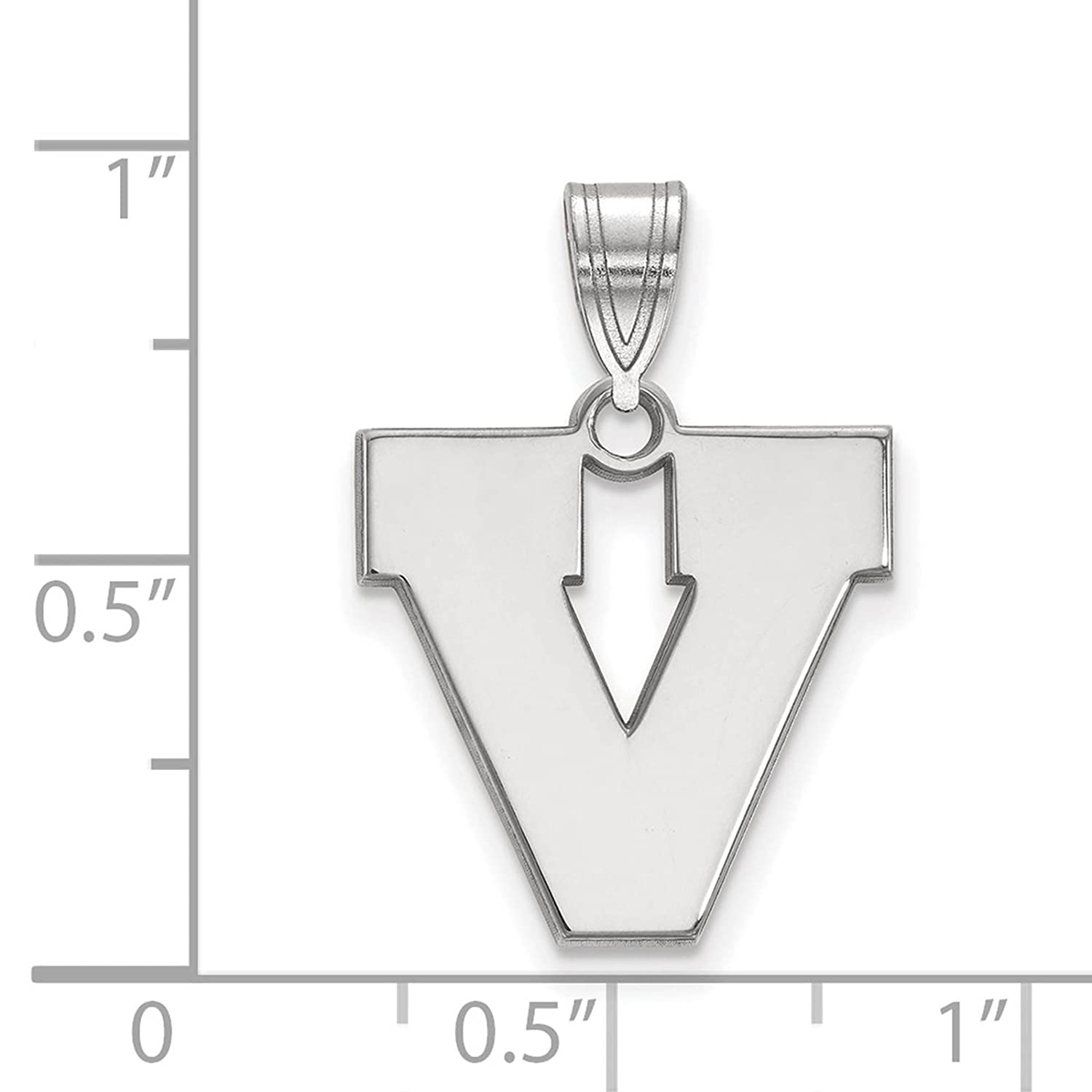 925 Sterling Silver Rhodium-plated Laser-cut University of Virginia Medium Pendant