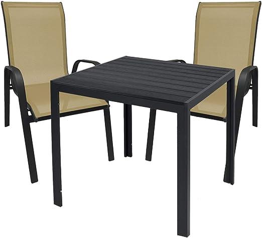 Mojawo Mobiliario de jardín, 3 Piezas, Mesa de jardín de 90 x 90 cm, Aluminio Antracita/Madera sintética Negra + 2 sillas apilables de Metal/Tela, Antracita/Beige: Amazon.es: Jardín