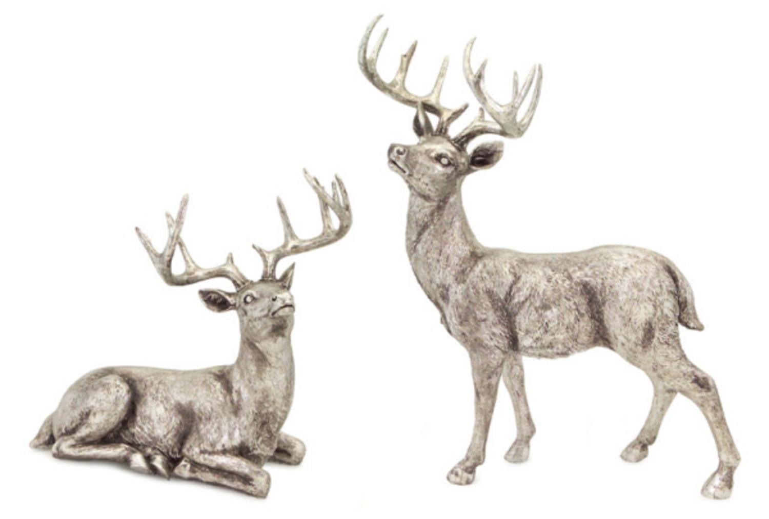 Decorative Distressed Finish Sitting & Standing Reindeer Pair Figurines | ChristmasTablescapeDecor.com #christmas tablescape