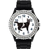 Chat noir Strass - Montre Femme - Bracelet Silicone Noir