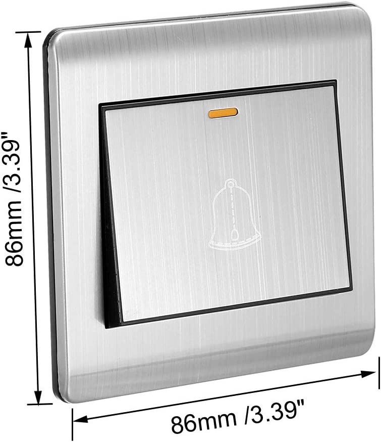 sourcing map Interrupteur bouton-poussoir sonnette porte Tonalit/é argent AC 250V 16A Acier inoxydable 86x86mm