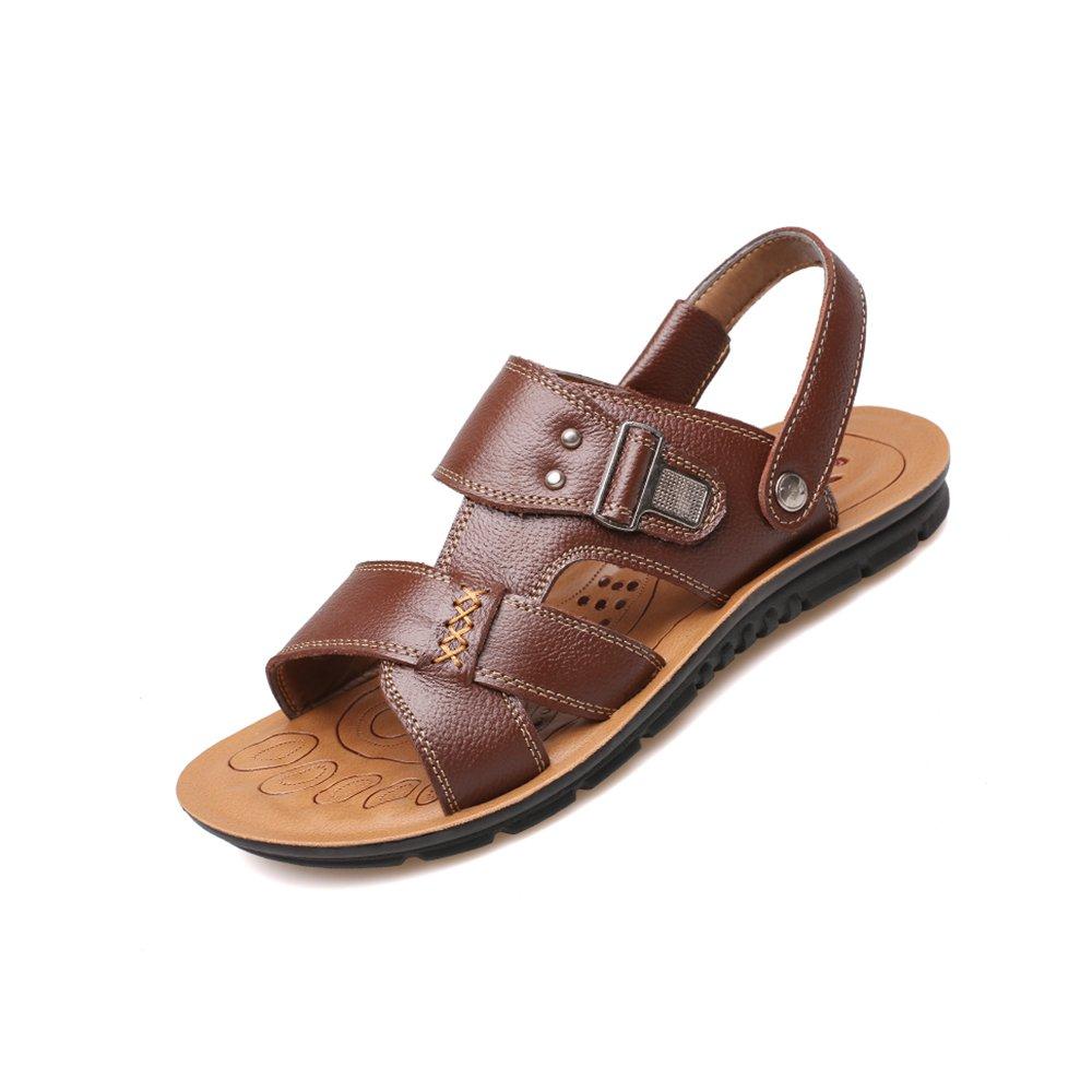 YQQ Casual Schuhe Strand Schuhe Herren Sandaleen Männlichen Schuhe Hausschuhe Sommer Rutschfeste Mitte Im Alter Gemütliche Atmungsaktive Weichen Boden (Farbe : Braun, größe : EU39/UK6.5)