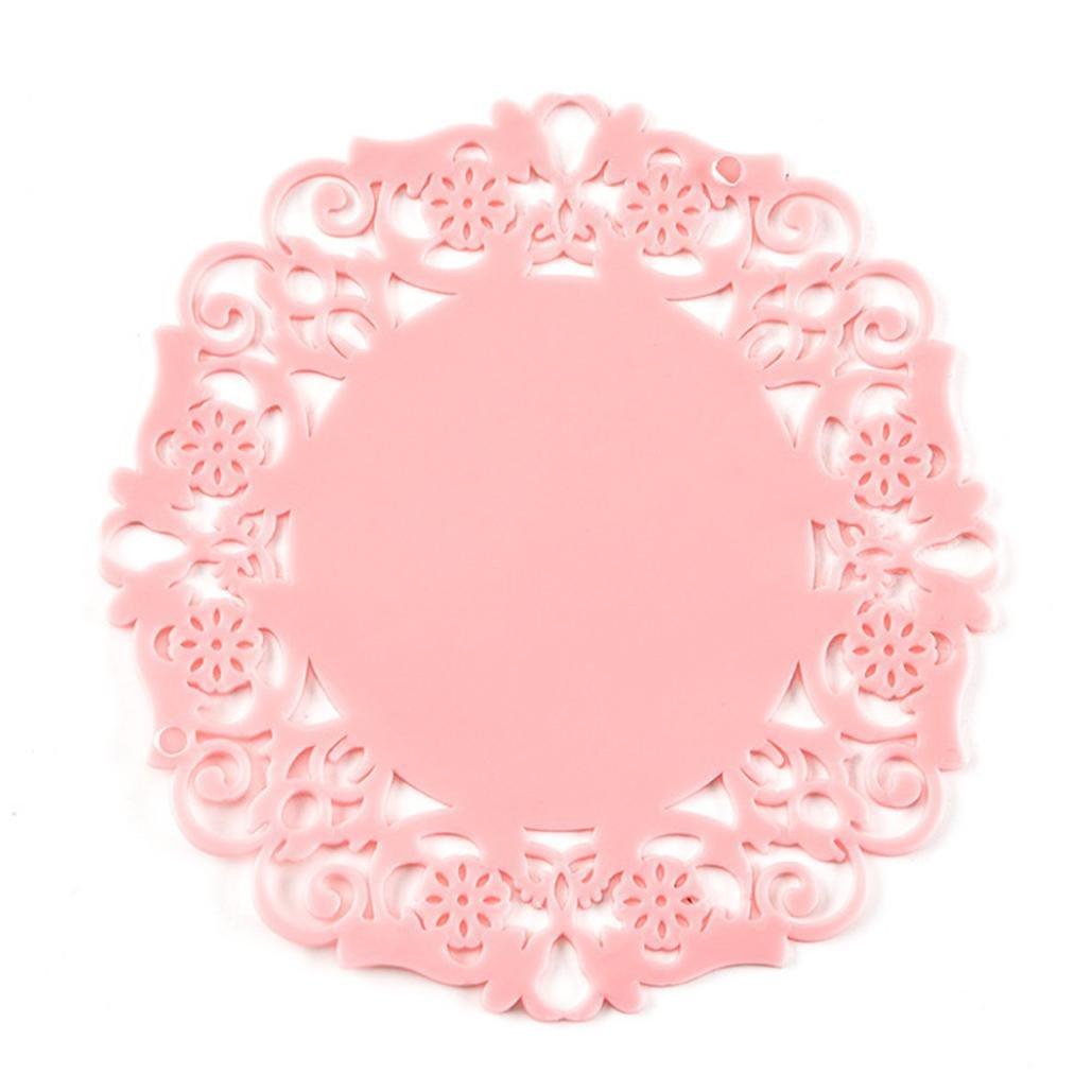 Goodlock PVC Coaster Mat Pad Cushion GoodLockDrinks Tea Cup Tableware Placemat Decoration (Pink)