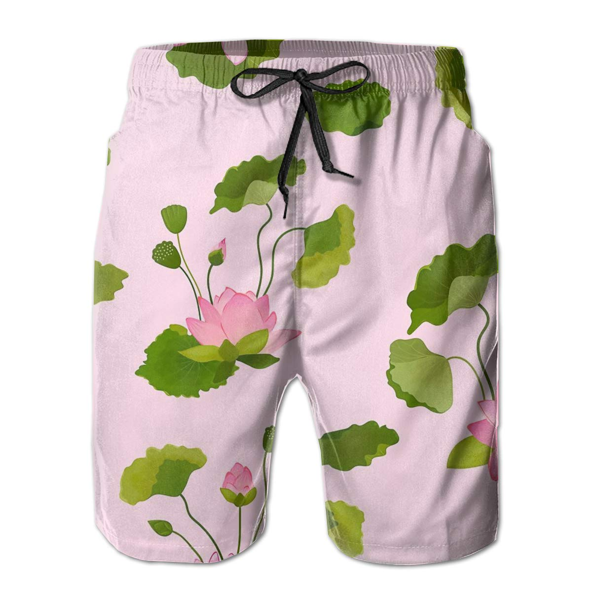 SARA NELL Mens Shorts Lotus Flowers and Leaves Pink Quick Dry Swim Trunks Beach Board Shorts