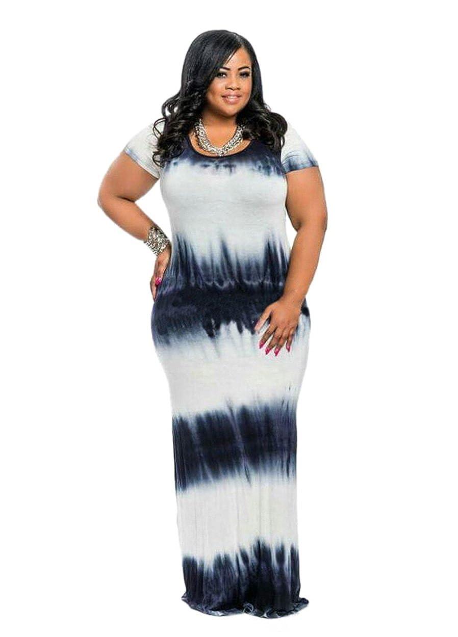 HPLY Women 2018 Short Sleeve Tie Dye Dresses Plus Size Loose Casual Maxi  Long Dress