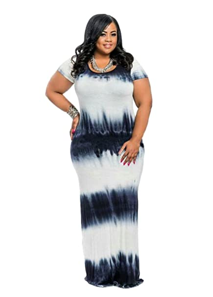 cce4fa051ba9 HPLY Women 2018 Short Sleeve Tie Dye Dresses Plus Size Loose Casual Maxi  Long Dress Black