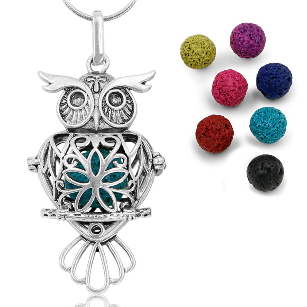 Apply Essential Oil to Felt Insert Choose Color Owl and Green Glass Charms Locket Diffuser Necklace Aromatherapy Jewelry EODN20-024