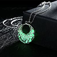 Siam panva Moon Glow In Dark Locket Silver Hollow Glowing Luminous Choker Pendant Necklace[Green]