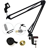 Tencro Professional Microphone Suspension Boom Scissor Arm Stand Adjustable Studio Desktop Mic Clip Holder for Blue Yeti, Snowball and Other Microphones