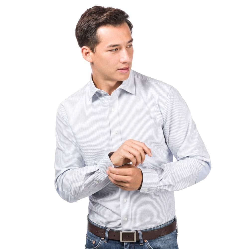 ALLBOW Business e Casual Camicia Uomo Elegante, Maniche Lunghe, Regular & Slim Fit, con Toppe Opzionale 410