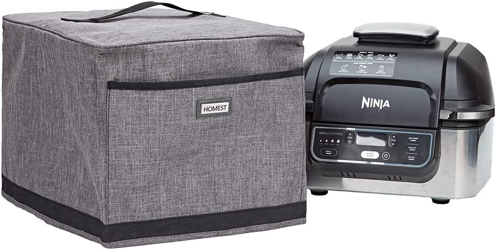 HOMEST Indoor Grill Dust Cover with Oil Proof Lining, Compatible with Ninja Foodi, These Small Appliance Covers Have Front Pocket for Recipe and Tongs, Grey (Patent Pending)