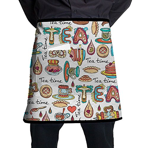 SG ULTIMATE INNO Pattern With Symbols Of Tea Time Waist Tie Half Bistro Apron With 2 Pockets For Waitress, Waiter, Chef, Baker, Servers, Waist Tie Half Waist Apron For Men & Women (Apron Pattern Tea)