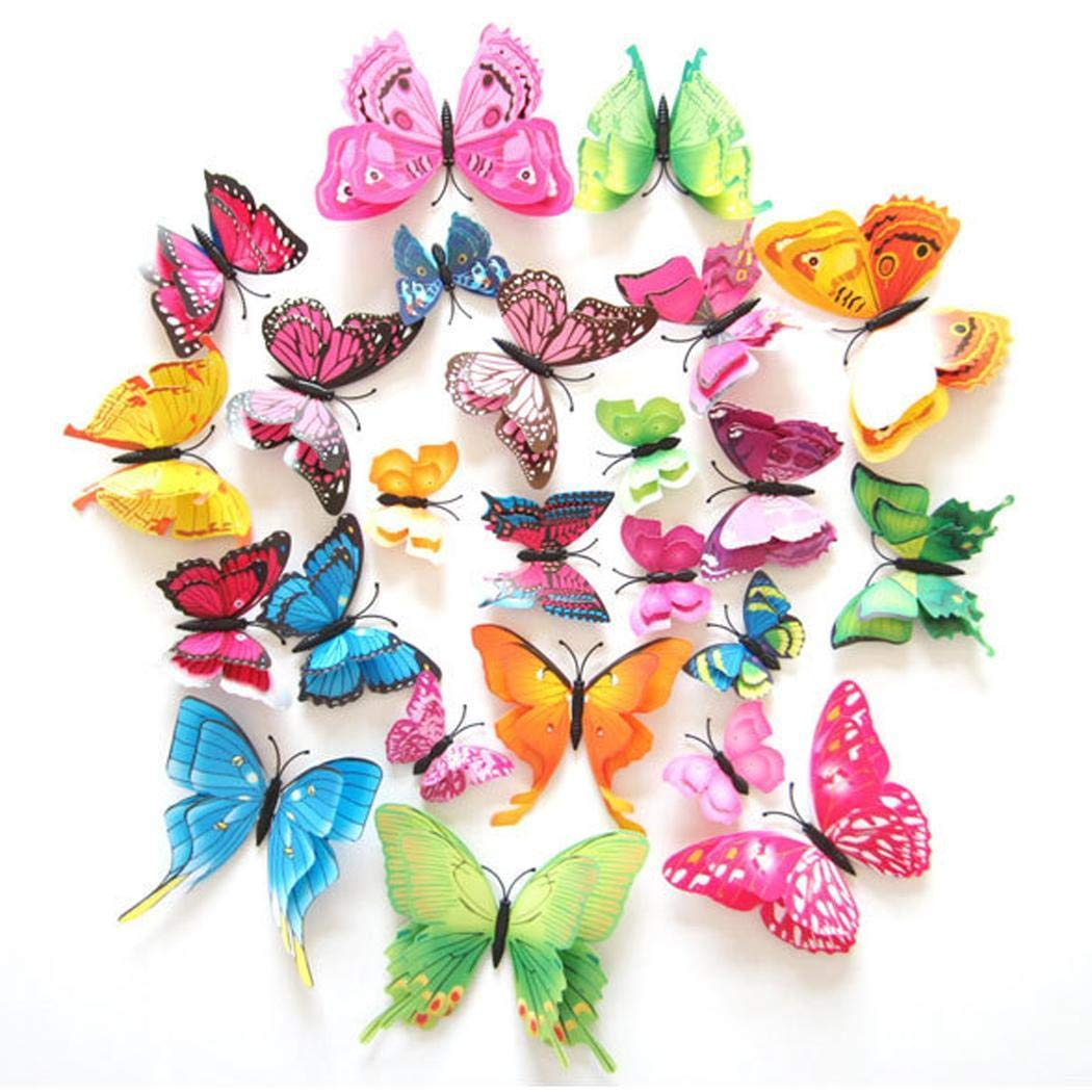 Yirind 12PCS Butterfly Wall Decor for Wall-3D Butterflies Wall Stickers Removable Mural Decals Home Decoration Kids Room Bedroom Decor (9Colors) by Yirind (Image #3)