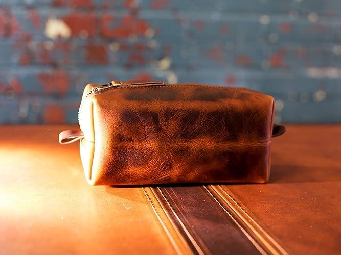 a850c5451196 Travel Toiletry Bag in Full-Grain Chestnut Leather Portable Dopp Kit for  Shaving and Grooming