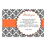 30 Thank You Cards Birthday Bridal Shower Orange Black Photo Paper