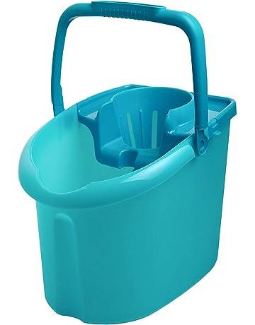 Curver - Cubo de Fregona Cómodo con Escurridor y Ruedas - Color Azul Indian Brillante