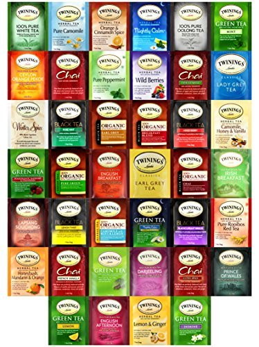 Twinings Tea Bags Sampler Assortment Includes Mints (40 Count) by Variety Fun -