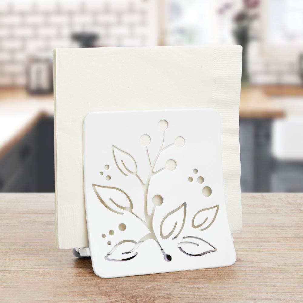porte serviette de table en acier bronze range serviettes de table mDesign range-serviettes de table avec motif /à feuille pour le plan de travail ou la table de salle /à manger