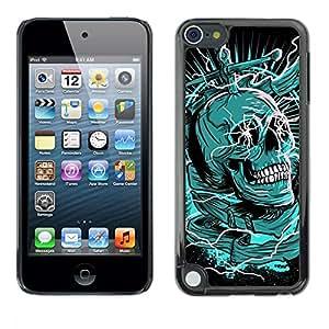 Be Good Phone Accessory // Dura Cáscara cubierta Protectora Caso Carcasa Funda de Protección para Apple iPod Touch 5 // Green Death Black Skull Dagger