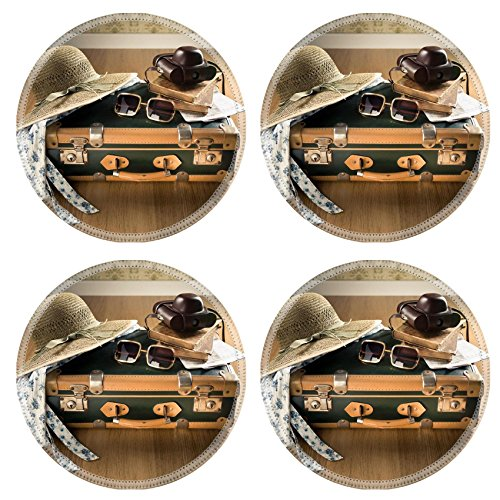 Liili Natural Rubber Round Coasters IMAGE ID 32522686 Vintage traveler suitcase with sunglasses straw hat old camera and - Price Sunglasses Id