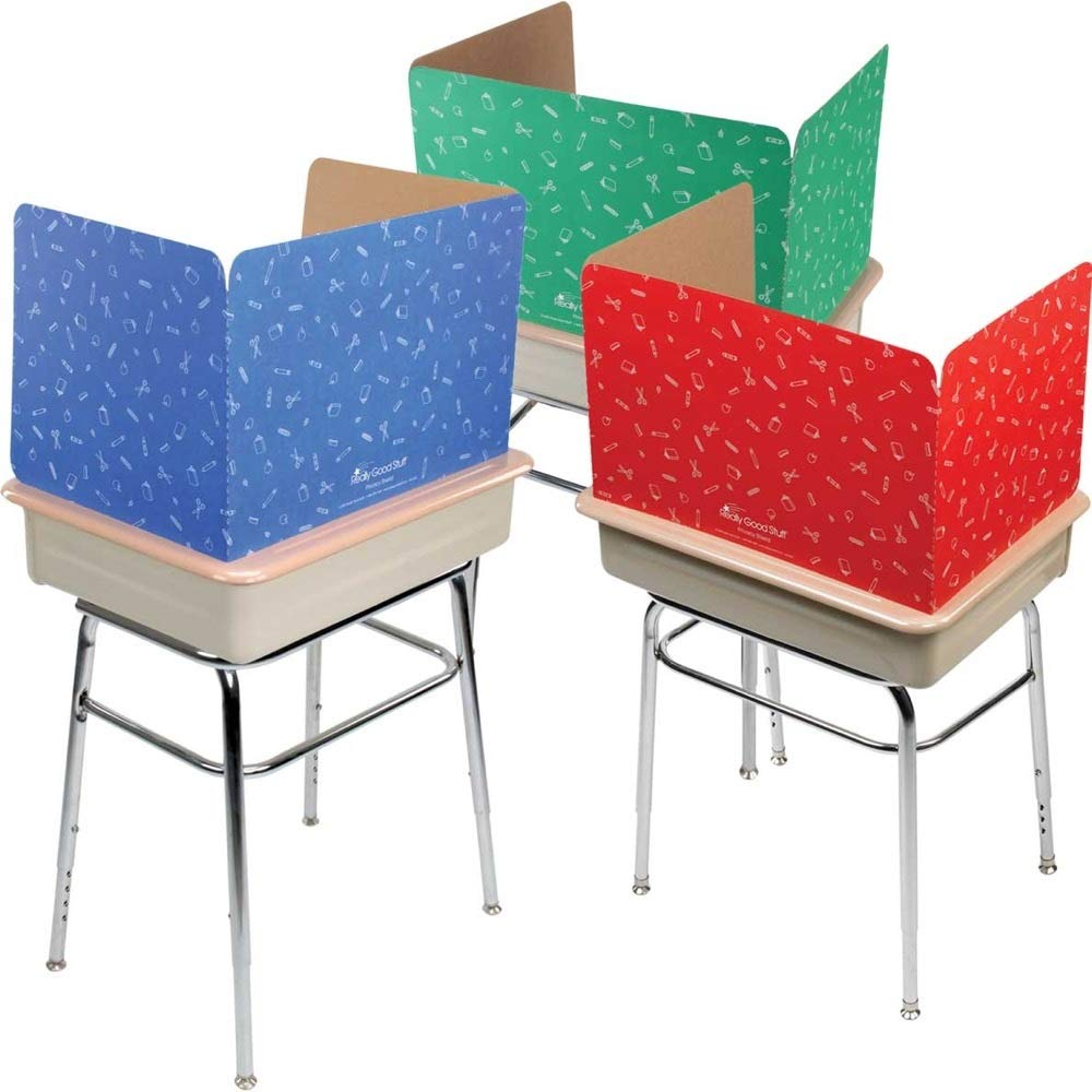 Really Good Stuff Privacy Shields for Student's Desks – Keeps Their Eyes on Their Own Test/Assignments (Matte (12 Shields), Assorted)