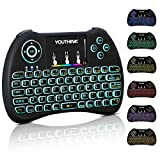 YOUTHINK 2.4GHz Mini Wireless Touchpad Keyboard with Backlight, Handheld Remote Mouse Combo for Android TV Box, Windows PC, XBOX 360, PS3, PS4, HTPC, IPTV, Raspberry Pi (Colorful backlit)