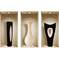 The Nisha Art Magic 3D Vinyl Removable Wall Sticker Decals DIY, Set of 3, Black and White Vase 755-AU