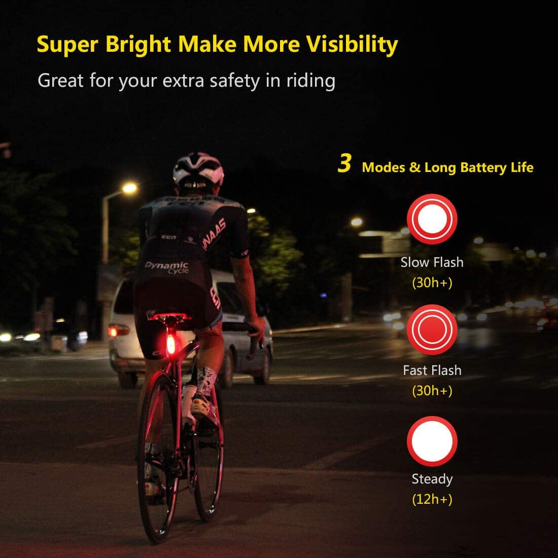 5 Led Safety Flasher Bike Bicycle Light Blinker Rear Tail Night Road Lamp Bright
