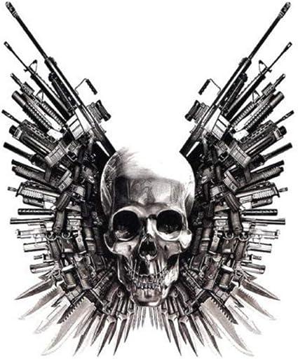 ruofengpuzi Adesivo tatuaggioCabeza Fantasma Pistola Espada Punky ...