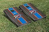 Oklahoma City Thunder NBA Basketball Cornhole Game Set Onyx Stained Stripe Version